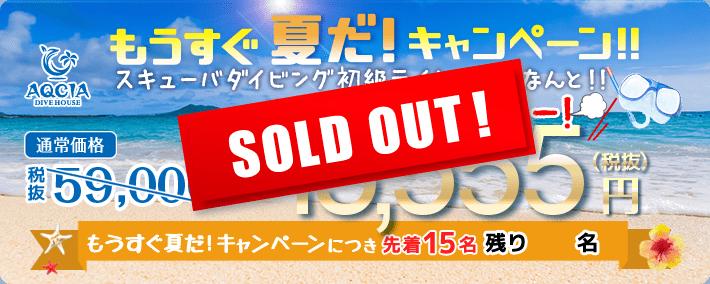 もうすぐ夏だ!キャンペーン スキューバダイビング初級ライセンスが 15,555円 先着15名様