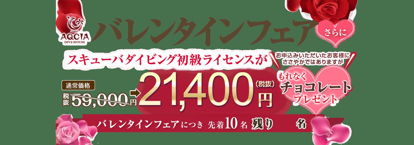 AQCIAバレンタインフェア スキューバダイビング初級ライセンスが特別価格!