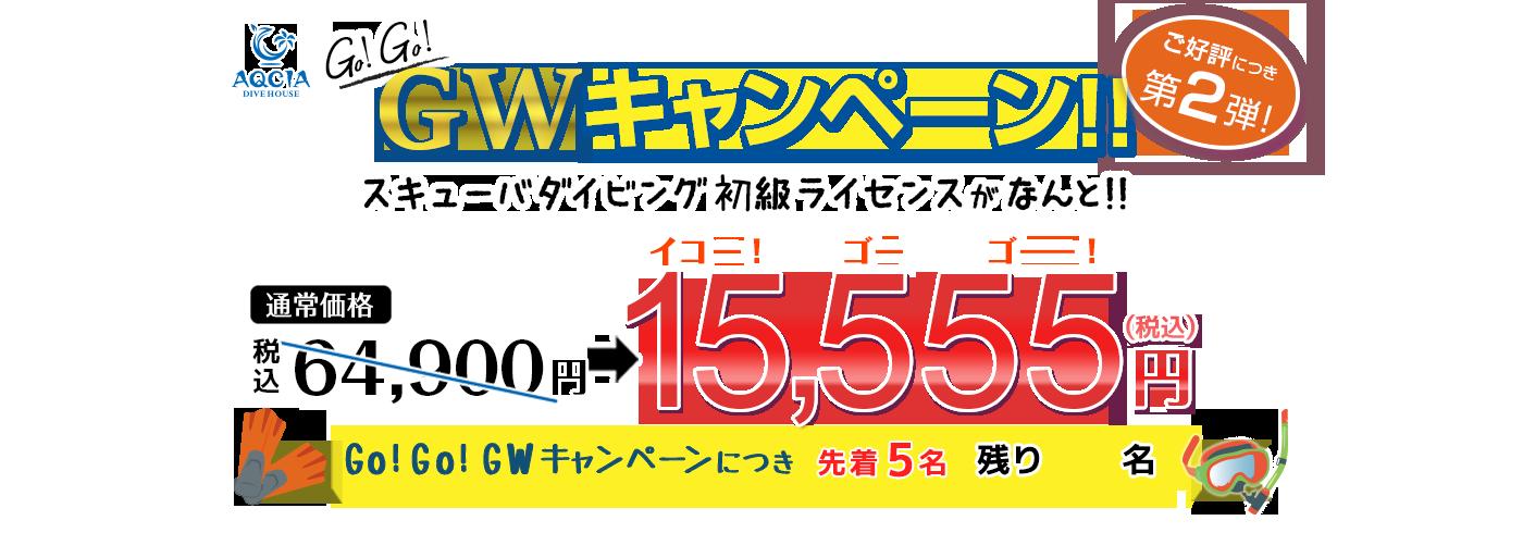 GWキャンペーン第2弾 スキューバダイビング初級ライセンスが 15,555円(税込) 先着5名様