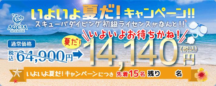 いよいよ夏だキャンペーン スキューバダイビング初級ライセンスが 14,140円(税込) 先着15名様